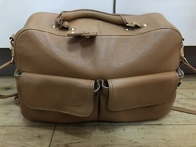 Pacapod 'Madison' large baby changing bag in tan luxury leather- RRP £300