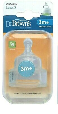 2 Doctor Browns Options Natural Flow Wide Neck Silicone Teats - Level 2 3mths+