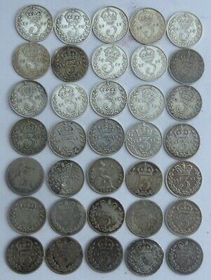 COLLECTION OF 35 BRITISH PRE 1920 SILVER 3d COINS