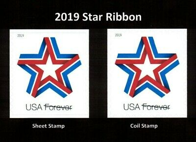 #5361 - 5362 2019 Star Ribbon Sheet & Coil - MNH