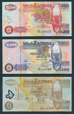 """Zambia: 2008 50 to 20,000 Kwacha """"SET OF 6 NOTES"""". Pick 37d-47d UNC"""