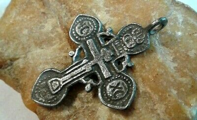 "ANTIQUE c.16-17th CENTURY SILVER ""OLD BELIEVERS"" ORTHODOX ORNATE ""SKULL"" CROSS"