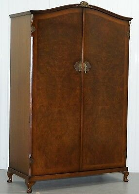 Vintage 1930's Burr Walnut Large Double Bank Wardrobe One Of Two Part Of Suite