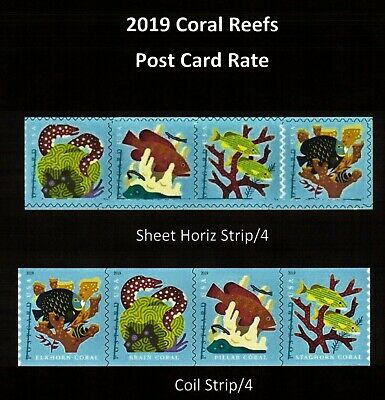 #5363 - 5370 2019 Coral reefs Sheet & Coil (Horiz Strip) - MNH (Ships after 4/4)
