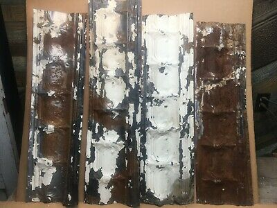 "4pc Lot of 32"" by 9.5"" Antique Ceiling Tin Vintage Reclaimed Salvage Art Craft"