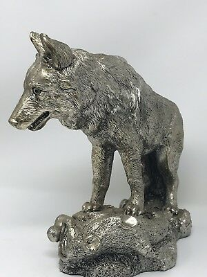 "Large Wolf Figurine  - SILVER WOLF - 10"" Long"