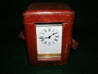 Antique Brass Carriage Clock Timepiece Leather Case Glass Panels Repair