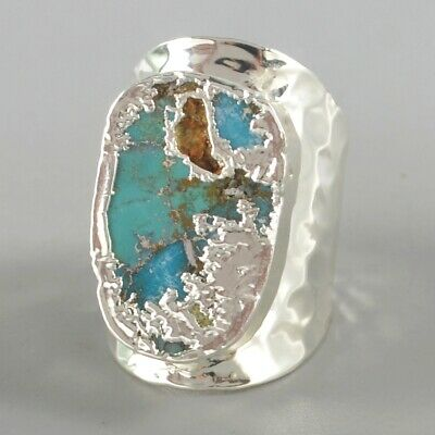 Size 7 Blue Copper Turquoise Ring Silver Plated B077997