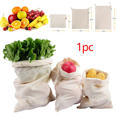 Reusable Mesh Cotton Produce Bags Grocery Fruit Storage Shopping String Bag HOT