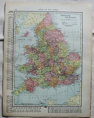 Original 1904 Antique Map ENGLAND WALES BRITISH ISLES Map CHROMOLITHOGRAPH
