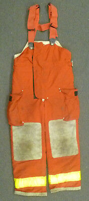 32x30 Globe Red Pants With Suspenders Firefighter Turnout Bunker Fire Gear P976