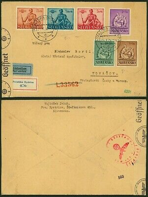 Slovakia WWII 1942 - Registered air mail cover to Tovacov - Censor