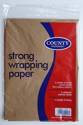 2 x (750mm x 1000mm) Strong Brown Wrapping Paper Sheets + String + Address Label