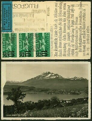 Switzerland 1936 - Air Mail postcard to Karlsruhe Germany