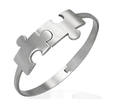 Puzzle Piece Autism Awareness Stainless Steel Cuff Bangle Bracelet