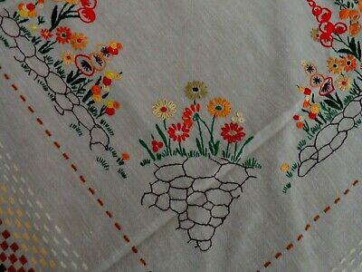 "Vintage Unbleached Irish Linen Tablecloth:Hand Embroidery ""Cottage Flowers"""