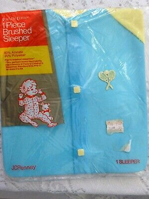Vintage Toddle Time Jcpenney One Piece Baby Brushed Blue Sleeper Mip
