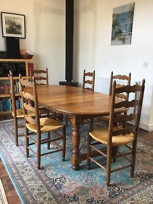 French Country Farmhouse Set Of 6 Oak  Quality Dining Chairs With Rush Seats