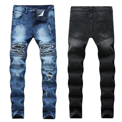 Mens Skinny Camouflage Biker Ripped Jeans Frayed Distressed Denim Pants Trousers