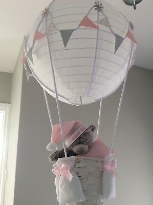 Me to you Teddy in a hot air balloon nursery light shade silver / pink