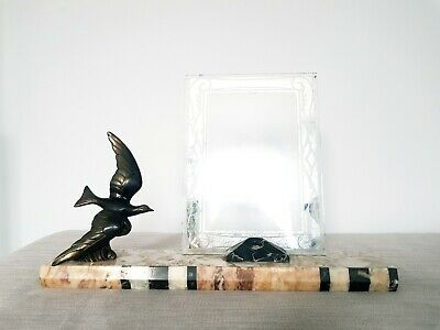 Stunning and Original Art Deco Marble Photo Frame with Spelter Seagull 1930s