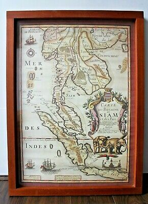 Large Vintage Map of Siam / Thailand in Chunky Solid Wood Frame 26.5 x 19.5""