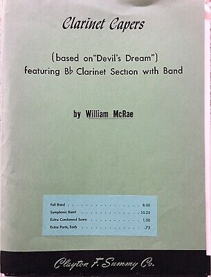 """""""Clarinet Capers"""" by William McRae, Concert Band Sheet Music 1955"""