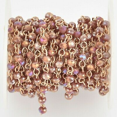 1 yard 4mm Crystal Rosary Chain, gold wire, rondelle beads, PLUM AB fch1073a