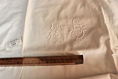 Antique French Hand Embroidered hand made lace cotton Sham Mono ?G c. 1920