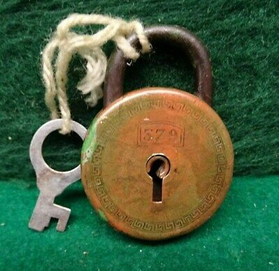 Small Antique Padlock No 379 Stamped On The Front - Working Order With Key.