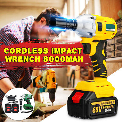 68V 1/2'' Electric Brushless Cordless Impact Wrench 520N.m w/ 2 Battery 8000mAh