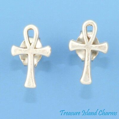 Ankh Egyptian Cross .925 Solid Sterling Silver Stud Post Earrings MADE IN USA