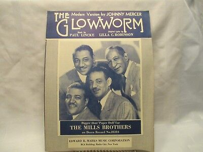 Vintage Glow Worm Sheet Music The Mills Brothers 1952 Johnny Mercer