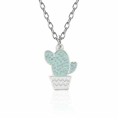 Fashion Cartoon Potted Cactus Pendant Necklace Enamel For Women Collares Jewelry