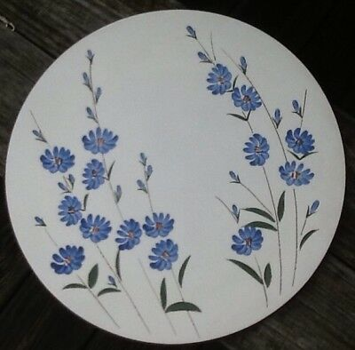 """Stangl Potteries Trenton NJ Chicory Chop Plate / Charger 14 1/8"""" Blue Flowers"""