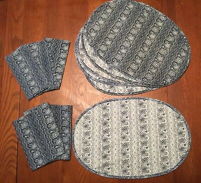 6 Vintage Quilted Reversible Placemats & Matching Napkins