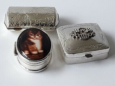 Vintage Silver X 3 Pill Boxes 1 Fully Hallmarked 1 Stamped 925 1No Marks