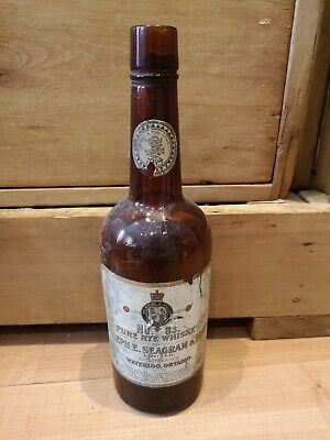Antique 1914 Joseph E Seagram & Sons Pure Rye Whiskey No. 83 Waterloo ONT Bottle
