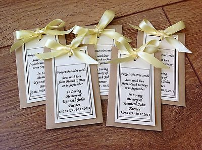 10 Personalised Forget Me Not Seed Favour Packets Funeral Memorial Loving Memory
