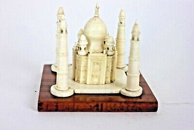 Antique Chinese Indian Taj Mahal Land Mark Carving Wooden Plinth Statue Ornament