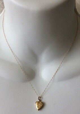 14k 14 k Solid Yellow Gold Heart Locket Chain Necklace Wear or Scrap 1.2 Grams