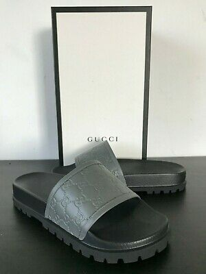 9fd49aba749 GUCCI MENS 9G  black BEE embroidery RIVER leather HORSEBIT Slides ...