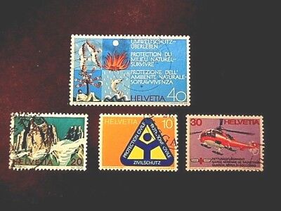 4 1972 SWITZERLAND STAMPS in USED LIGHTLY HINGED CONDITION COMPLETE SET