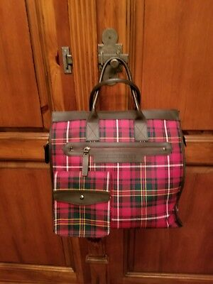 Burberry Red Plaid Check Large Tote Handbag Top Handles Zipper 15.5