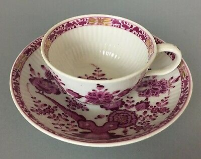 Antique Meissen Marcolini Period Purple Chinoiserie Cup And Saucer c 1774 - 1815