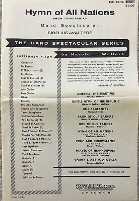 """Hymn Of All Nations"" From Finlandia, Sibelius, Concert Band Sheet Music 1965"