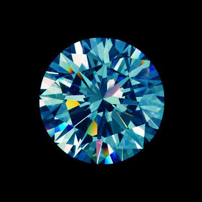 Loose Moissanite 5.05 mm 0.41 ct Vivid Blue Round Brilliant Cut For Jewelry