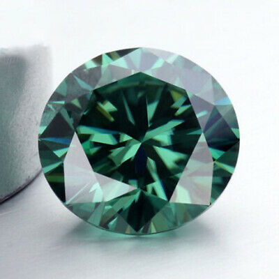 Loose Moissanite 10.00 mm 3.25 ct Vivid Green Round Brilliant Cut For Jewelry