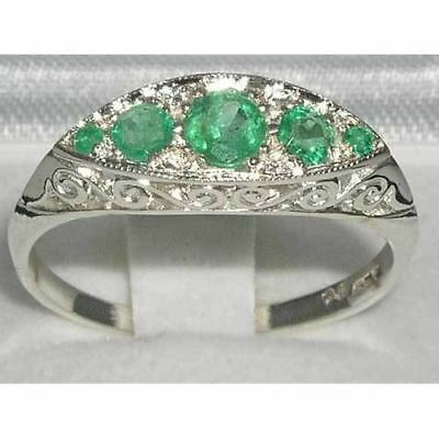 Solid Carved Sterling Silver Natural Aaa Emerald Ring