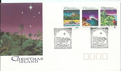 1993 Christmas Set 3 on FDC Fancy FDI Christmas Island 2 September 1993